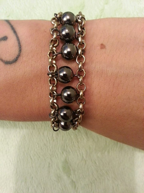 Chain and Bead Bracelet. The Mad Lila/ Etsy